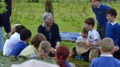 Stone age day fish demonstration